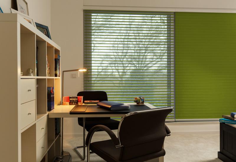 Blöcker Triflor Stoffjalousien Campo grün Büro