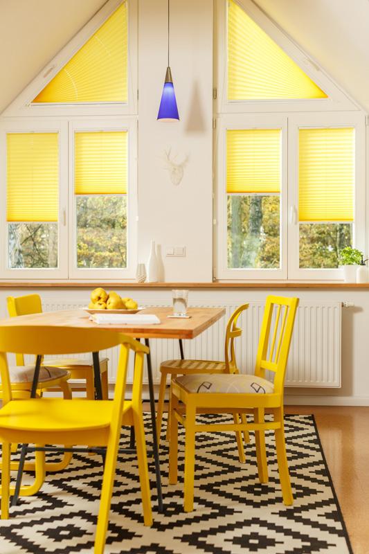 Blöcker Cosiflor Plissee gelb sonnig Küche