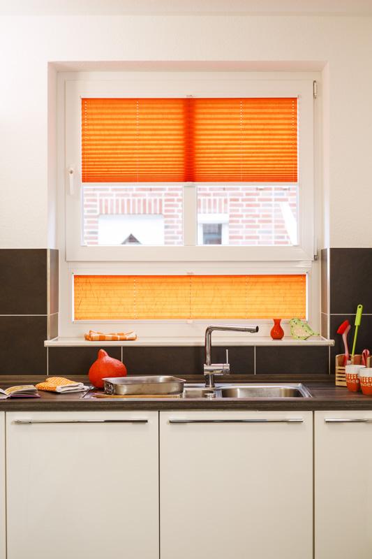 Blöcker Cosiflor Plissee orange terracotta Küche