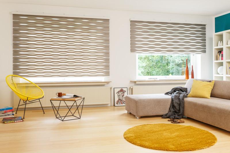 Blöcker Duoflor Doppelrollo Welle beige Wohnzimmer