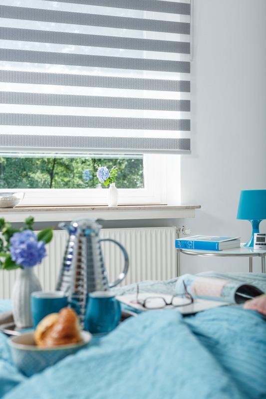 Blöcker Duoflor Doppelrollo Strato grau Schlafzimmer